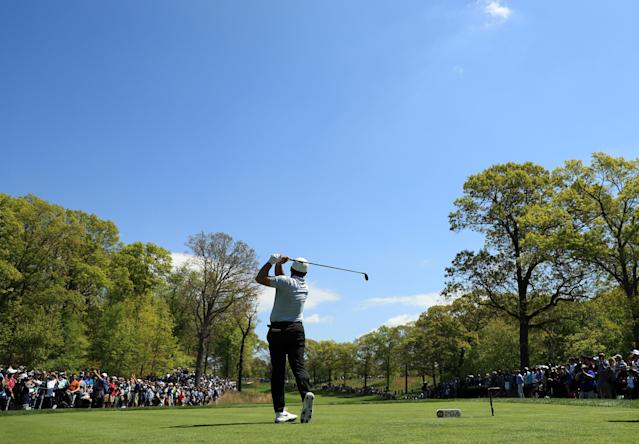 Francesco Molinari of Italy plays his shot from the second tee during the first round of the 2019 PGA Championship at the Bethpage Black course on May 16, 2019 in Farmingdale, New York. (Photo by Mike Ehrmann/Getty Images)