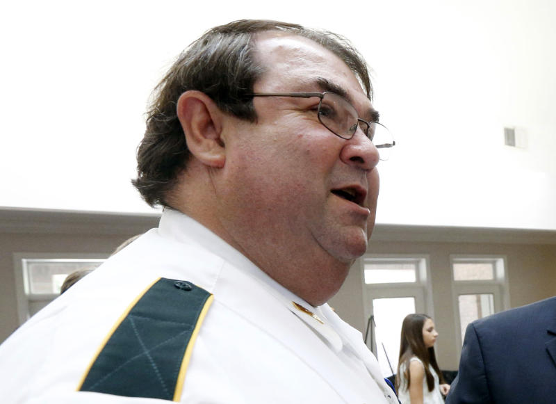 FILE - In this June 3, 2015, file photo, Tallachatchie County Sheriff William Brewer Jr. speaks at a news conference in Jackson, Miss.  Brewer, a former Mississippi sheriff who admitted to extorting bribes from a drug dealer, was sentenced Thursday, April 18, 2019, to six years in prison. (AP Photo/Rogelio V. Solis, File)