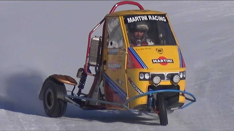 Triumph-Powered Piaggio Ape Snow Drift Machine