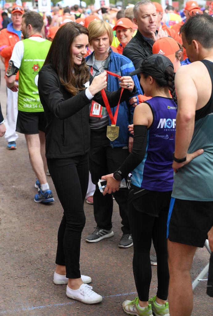 Middleton wore her trusty Superga sneakers in 2017 at the Virgin Money London Marathon. (Photo by Karwai Tang/WireImage)