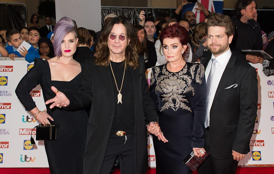 Kelly Osbourne, Ozzy Osbourne, Sharon Osbourne and Jack Osbourne attent the Pride of Britain awards at The Grosvenor House Hotel on September 28, 2015 in London, England.  (Photo by Samir Hussein/WireImage)