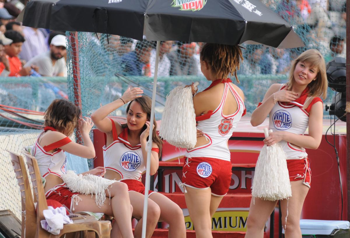 Cheerleaders of Kings XI Punjab  during match 20 of the Pepsi Indian Premier League between The Kings XI Punjab and the Kolkata Knight Riders held at the PCA Stadium, Mohali, India  on the 16th April 2013..Photo by Arjun Panwar-IPL-SPORTZPICS  ..Use of this image is subject to the terms and conditions as outlined by the BCCI. These terms can be found by following this link:..https://ec.yimg.com/ec?url=http%3a%2f%2fwww.sportzpics.co.za%2fimage%2fI0000SoRagM2cIEc&t=1506262555&sig=8SvlRjMialv9w7XXU7Eyyg--~D