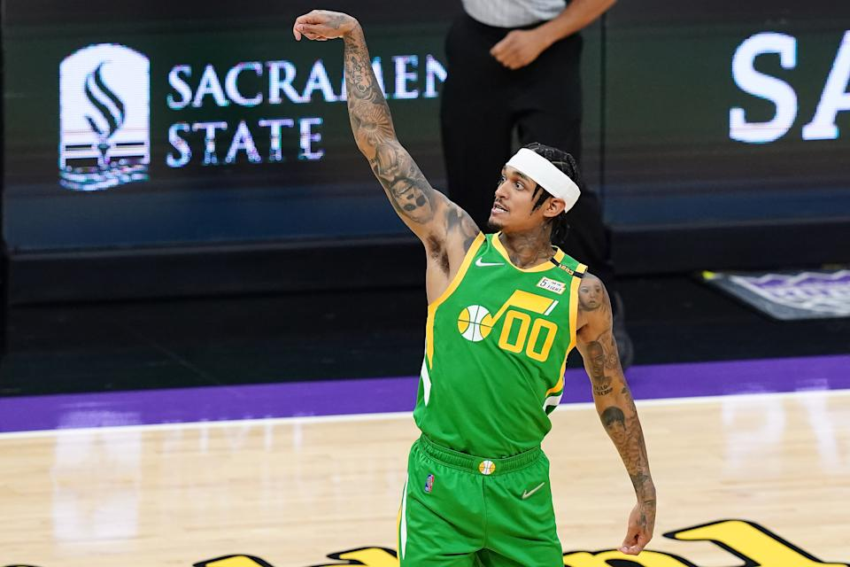 SACRAMENTO, CALIFORNIA - MAY 16: Jordan Clarkson #00 of the Utah Jazz follows through after a shot against the Sacramento Kings at Golden 1 Center on May 16, 2021 in Sacramento, California. NOTE TO USER: User expressly acknowledges and agrees that, by downloading and or using this photograph, User is consenting to the terms and conditions of the Getty Images License Agreement. (Photo by Ben Green/Getty Images)