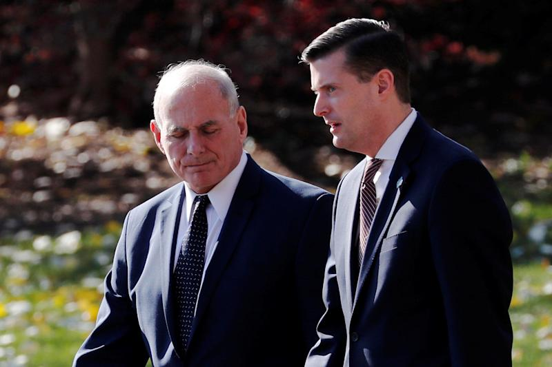 White House chief of staff John Kelly walks with White House staff secretary Rob Porter on Nov. 29, 2017.