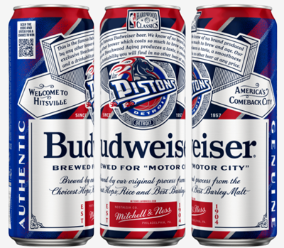 Budweiser cans sporting the old Detroit Pistons horsepower logo, created by Mitchell & Ness.