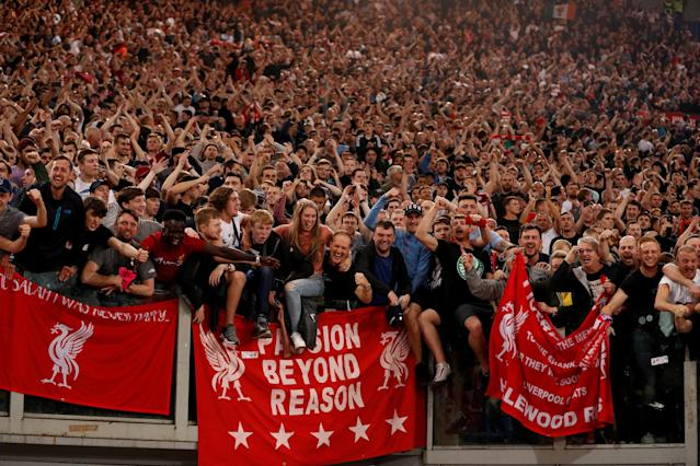 Soccer Football - Champions League Semi Final Second Leg - AS Roma v Liverpool - Stadio Olimpico, Rome, Italy - May 2, 2018 Liverpool fans celebrate after the match Action Images via Reuters/John Sibley TPX IMAGES OF THE DAY
