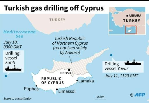 Map locating Turkish gas drilling vessels off Cyprus earlier in July