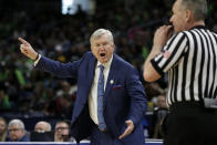 Texas A&M head coach Gary Blair argues a call during the first half of a regional semifinal game against the Notre Dame in the NCAA women's college basketball tournament, Saturday, March 30, 2019, in Chicago. (AP Photo/Kiichiro Sato)