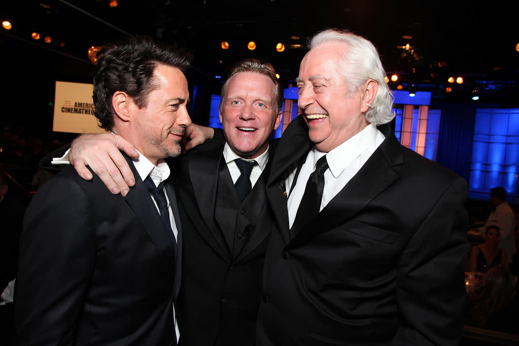 """Honoree <a href=""""http://movies.yahoo.com/movie/contributor/1800010914"""">Robert Downey Jr.</a>, <a href=""""http://movies.yahoo.com/movie/contributor/1800040973"""">Anthony Michael Hall</a> and <a href=""""http://movies.yahoo.com/movie/contributor/1808964336"""">Robert Downey Sr.</a> attend the 25th American Cinematheque Award in Beverly Hills on October 14, 2011."""
