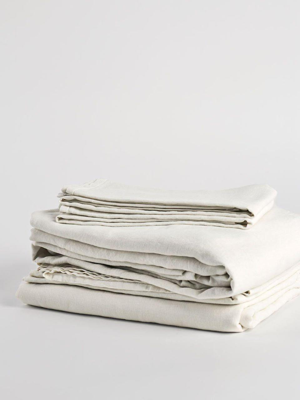 """<p><strong>Matteo</strong></p><p>matteola.com</p><p><strong>$555.00</strong></p><p><a href=""""https://matteola.com/products/vintage-linen-sheet-set"""" rel=""""nofollow noopener"""" target=""""_blank"""" data-ylk=""""slk:BUY NOW"""" class=""""link rapid-noclick-resp"""">BUY NOW</a></p><p>Matteo Home is the go-to for luxury linen sheets, and if you're able to pay the price, then you won't be sorry. Based in Los Angeles, everything is manufactured there by a small team of about fifty craftspeople. All fabrics are garment-washed and dyed with non-toxic chemicals. You'll save about 10 percent if you opt for the sheet set (includes a top sheet, fitted sheet, and either one or two pillowcases depending on the size you order), but you could also mix and match their various neutral tones for a subtle, layered look. </p>"""