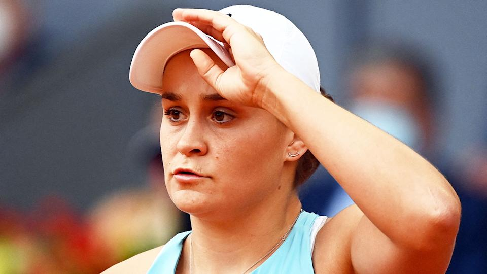Seen here, Ash Barty looks shocked during the Madrid Open final.