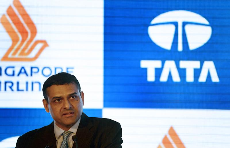 Director on the Board of TATA SIA Airlines Limited (TSAL), Mukund Rajan speaks at the press conference during the launch of the new brand name 'Vistara' in New Delhi on August 11, 2014 (AFP Photo/Chandan Khanna)