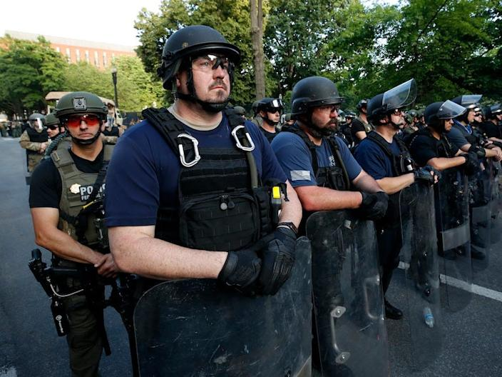 Members of the Bureau of Prisons Special Operations Response Team stand near the White House during a June 3 protest.