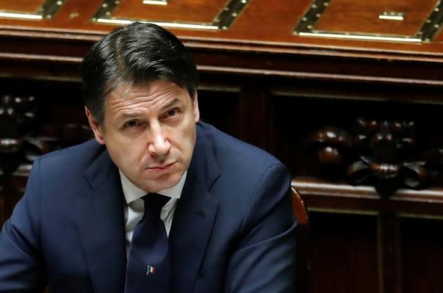 Italian Prime Minister Giuseppe Conte attends a session of the lower house of parliament on the coronavirus disease (COVID-19) in Rome