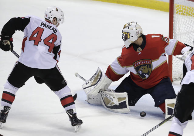 Ottawa Senators' Jean-Gabriel Pageau (44) scores a goal past Florida Panthers goaltender Roberto Luongo (1) during the third period of an NHL hockey game, Monday, March 12, 2018, in Sunrise, Fla. (AP Photo/Lynne Sladky)