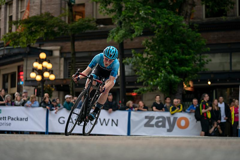 Brenna Wrye-Simpson racing with DNA Pro Cycling on the road