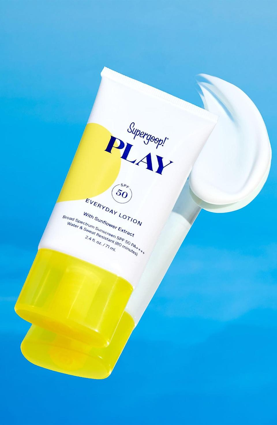 <p>Keep your skin protected in the summertime with the <span>Supergoop! Play Everyday Lotion SPF 50 Sunscreen</span> ($22–$58). It is fast-absorbing, non-greasy, and sweat-resistant.</p>