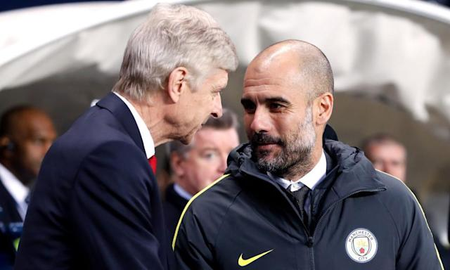 "<span class=""element-image__caption"">Arsène Wenger and Pep Guardiola will go head-to-head for the 10th time as managers on Sunday when Arsenal play host to Manchester City.</span> <span class=""element-image__credit"">Photograph: Martin Rickett/PA</span>"