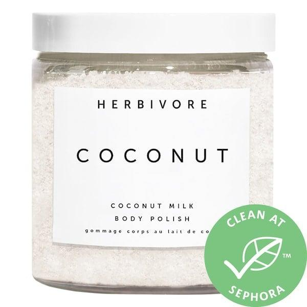 <p>There are sugar crystals alongside coconut oil and milk in this <span>Herbivore Coconut Milk Body Scrub</span> ($36) to exfoliate <em>and</em> moisturize.</p>