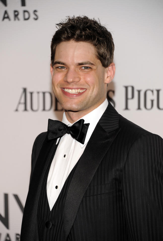 Jeremy Jordan arrives at the 66th Annual Tony Awards on Sunday June 10, 2012, in New York. (Photo by Evan Agostini /Invision/AP)