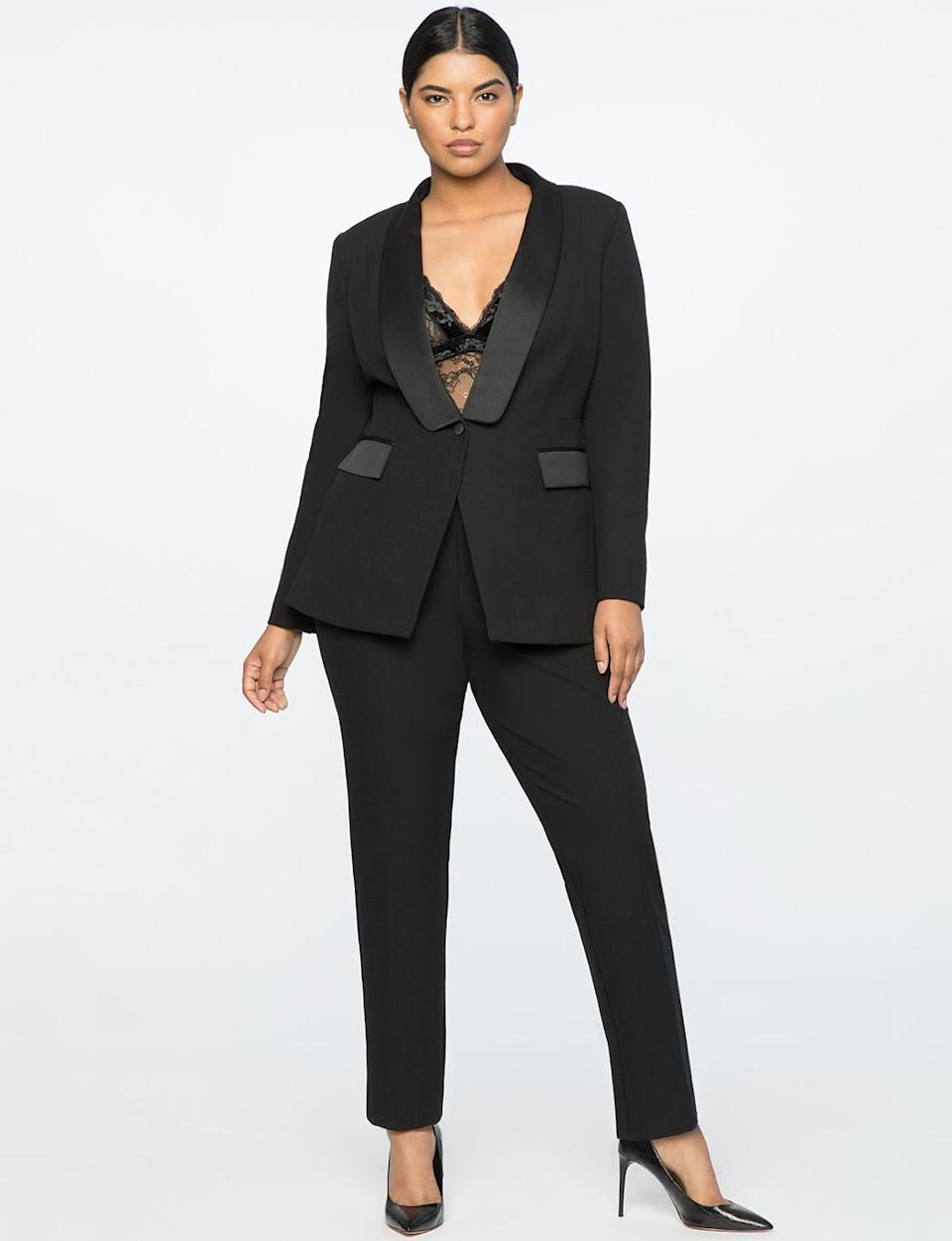 """<p>This tux is the power suit of all of your dreams. Channel<a rel=""""nofollow"""" href=""""https://www.yahoo.com/lifestyle/blake-lively-kanye-west-30-145600553/photo-p-last-night-york-citys-photo-145804003.html"""" data-ylk=""""slk:Blake Lively;outcm:mb_qualified_link;_E:mb_qualified_link;ct:story;"""" class=""""link rapid-noclick-resp yahoo-link""""> Blake Lively</a> and <a rel=""""nofollow"""" href=""""https://www.yahoo.com/lifestyle/led-by-evan-rachel-wood-pantsuit-nation-takes-the-globes-020546210.html"""" data-ylk=""""slk:Evan Rachel Wood;outcm:mb_qualified_link;_E:mb_qualified_link;ct:story;"""" class=""""link rapid-noclick-resp yahoo-link"""">Evan Rachel Wood</a> on the red carpet with this luxe outift. Wear a bralette undenreath the blazer for a sexier look. <br>Jason Wu x Eloquii tux blazer, $120,<a rel=""""nofollow noopener"""" href=""""https://fave.co/2OiRuJr"""" target=""""_blank"""" data-ylk=""""slk:eloquii.com"""" class=""""link rapid-noclick-resp""""> eloquii.com</a><br>Jason Wu x Eloquii tux pants, $90,<a rel=""""nofollow noopener"""" href=""""https://fave.co/2qmCDEv"""" target=""""_blank"""" data-ylk=""""slk:eloquii.com"""" class=""""link rapid-noclick-resp""""> eloquii.com</a> </p>"""
