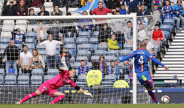 "Football - Falkirk v Inverness Caledonian Thistle - William Hill Scottish FA Cup Final - Hampden Park, Glasgow, Scotland - 30/5/15 Inverness Caledonian Thistle's James Vincent scores their second goal Reuters / Russell Cheyne Livepic EDITORIAL USE ONLY. No use with unauthorized audio, video, data, fixture lists, club/league logos or ""live"" services. Online in-match use limited to 45 images, no video emulation. No use in betting, games or single club/league/player publications. Please contact your account representative for further details."