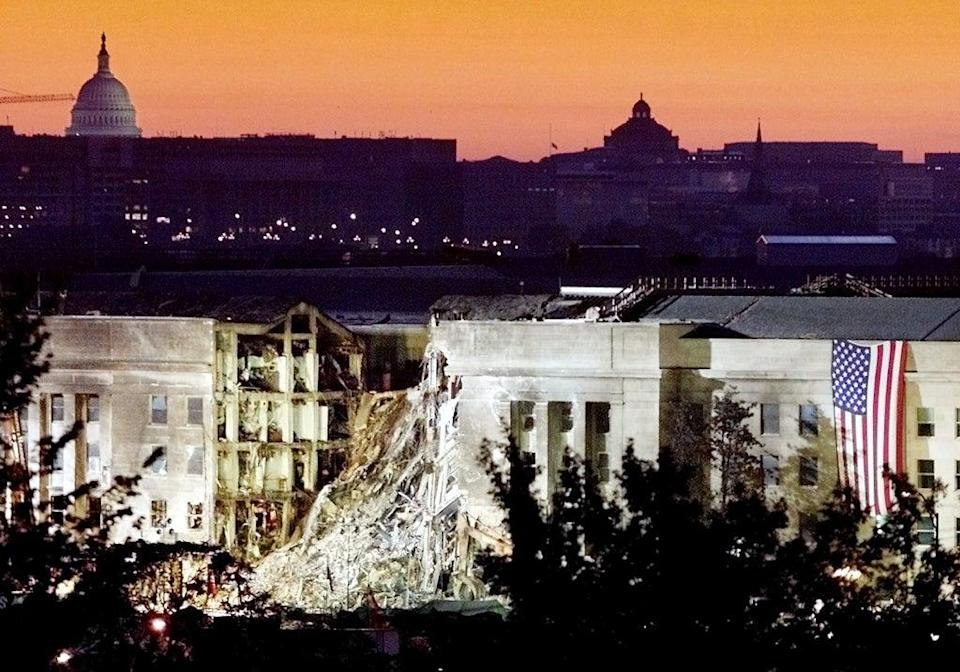 The damaged area of the Pentagon building (Reuters)