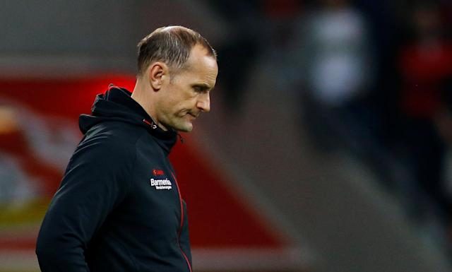 Soccer Football - DFB Cup - Bayer Leverkusen vs Bayern Munich - BayArena, Leverkusen, Germany - April 17, 2018 Bayer Leverkusen coach Heiko Herrlich looks dejected REUTERS/Thilo Schmuelgen DFB RULES PROHIBIT USE IN MMS SERVICES VIA HANDHELD DEVICES UNTIL TWO HOURS AFTER A MATCH AND ANY USAGE ON INTERNET OR ONLINE MEDIA SIMULATING VIDEO FOOTAGE DURING THE MATCH.