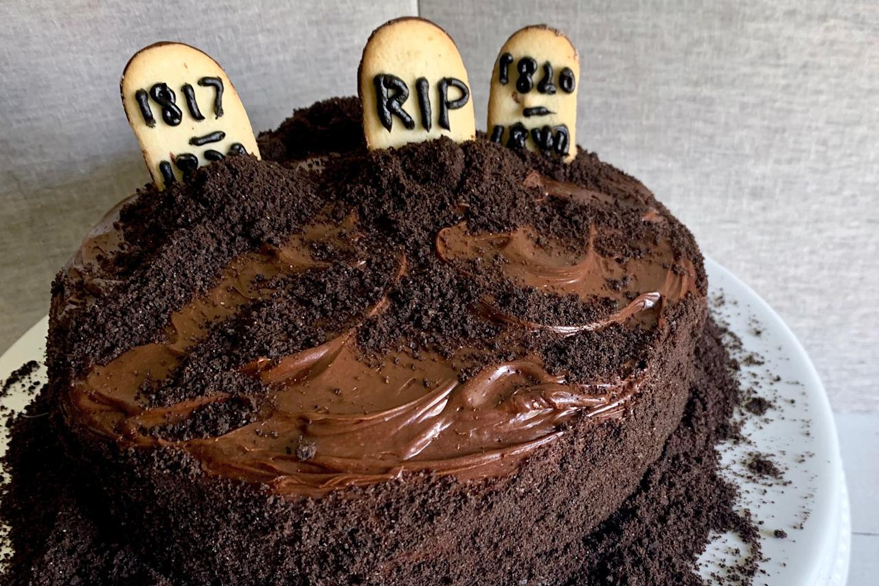 """<p><strong>Recipe: <a href=""""https://www.southernliving.com/recipes/graveyard-cake"""">Graveyard Cake</a></strong></p> <p>Here lies a yummy Halloween cake that is simple to make with just Milano cookies, Oreos, and Devil's Food cake mix.</p>"""