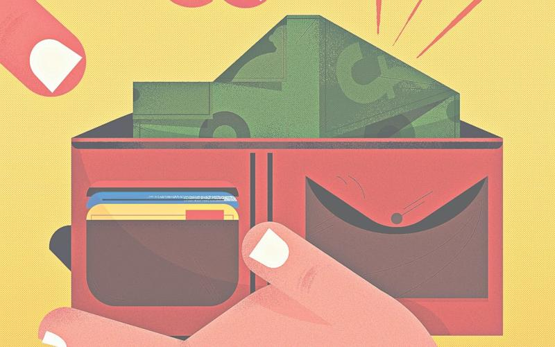 Wallet with car-shaped cash illustration - Credit: ADAM AVERY FOR THE TELEGRAPH