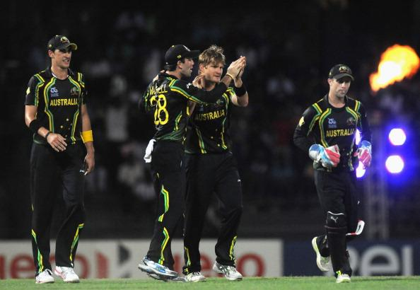 COLOMBO, SRI LANKA - SEPTEMBER 28:   Shane watson of Australia celebrate the wicket of Yuvraj Singh of India with teammate Glenn Maxwell and Matthew Wade during the super eight match between Australia and India held at R. Premadasa Stadium on September 28, 2012 in Colombo, Sri Lanka.  (Photo by Pal Pillai/Getty Images)