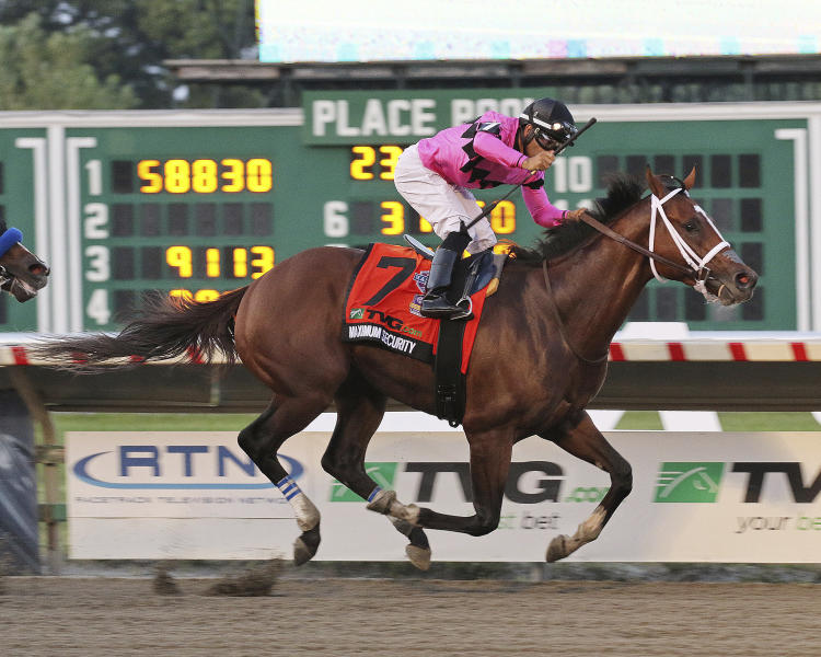 In this image provided by Ryan Denver/EQUI-PHOTO, Inc., Maximum Security (7), ridden by Luis Saez, wins the Grade I - $1,000,000 TVG.com Haskell Invitational horse race Saturday, July 20, 2019, at Monmouth Park Racetrack in Oceanport, N.J. (Ryan Denver/EQUI-PHOTO, Inc. via AP)