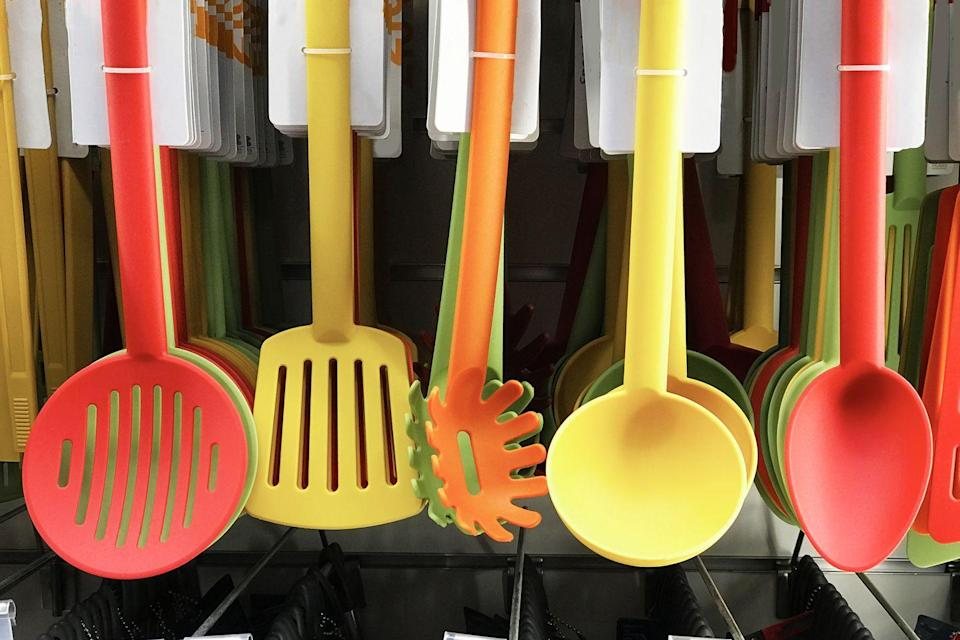 """<p>You'll find tools like spatulas, cookie sheets and baking pans on the baking aisle, but you probably shouldn't spring for them at the grocery store unless you have a coupon. These items sell for 30% more than they would at stores like Target, Walmart, TJ Maxx and HomeGoods, according to <a href=""""https://www.couponsherpa.com/"""" rel=""""nofollow noopener"""" target=""""_blank"""" data-ylk=""""slk:CouponSherpa.com's"""" class=""""link rapid-noclick-resp"""">CouponSherpa.com's</a> Perez.</p>"""
