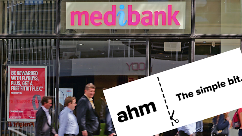 Pictured: Medibank branch, ahm logo. Images: Getty, ahm