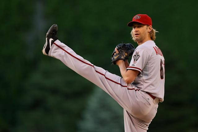 DENVER, CO - JUNE 5: Starting pitcher Bronson Arroyo #61 of the Arizona Diamondbacks delivers to home plate during the first inning against the Colorado Rockies at Coors Field on June 5, 2014 in Denver, Colorado. (Photo by Justin Edmonds/Getty Images)