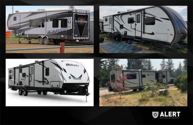 After a three-month investigation, ALERT has recovered 13 stolen holiday travel trailers worth about $970,000, the police agency says.  (ALERT - image credit)