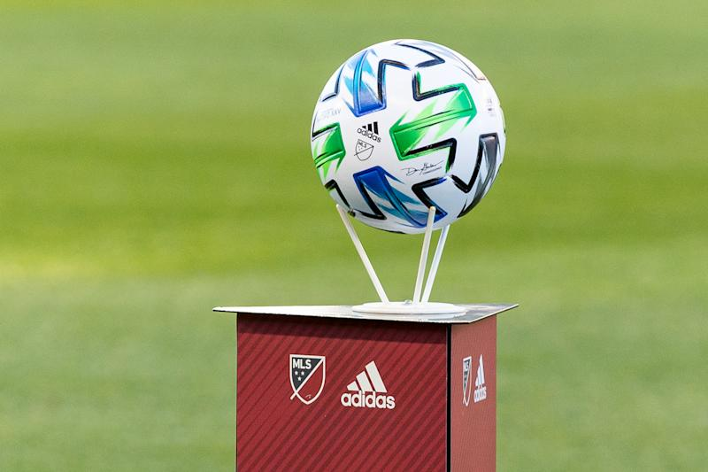 MSL ball on the stand before the 2020 MLS Regular Season match between Toronto FC (Canada) and New York City FC (USA) at BMO Field in Toronto, Canada (Score 1-0) (Photo by Anatoliy Cherkasov/NurPhoto via Getty Images)