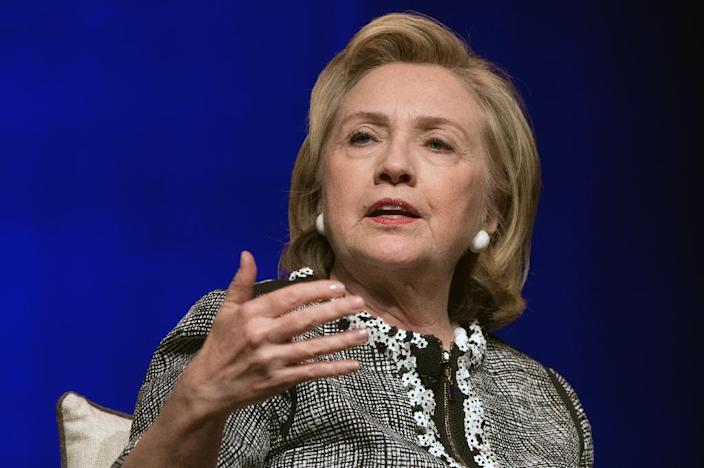 """Former US Secretary of State Hillary Clinton speaks about her book """"Hard Choices"""" at the George Washington University in Washington, DC, on June 13, 2014 (AFP Photo/Nicholas Kamm)"""