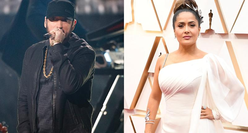 Eminem and Salma Hayek had an encounter at the 2020 Oscars. (Photo: Getty Images)