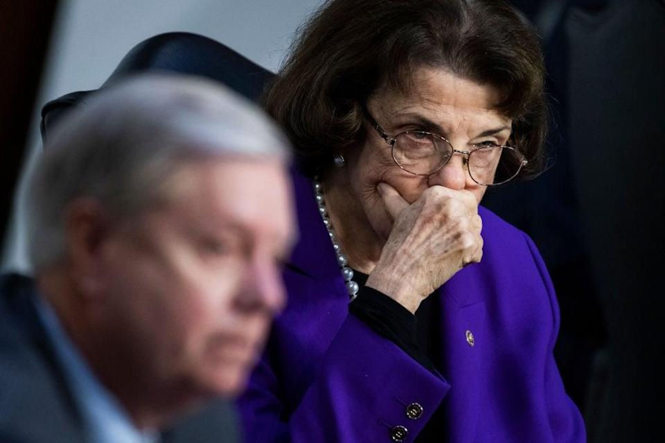 Senator Dianne Feinstein's (right) handling of the Amy Coney Barrett hearings has been a recent source of internal Democratic strife. (Getty Images)