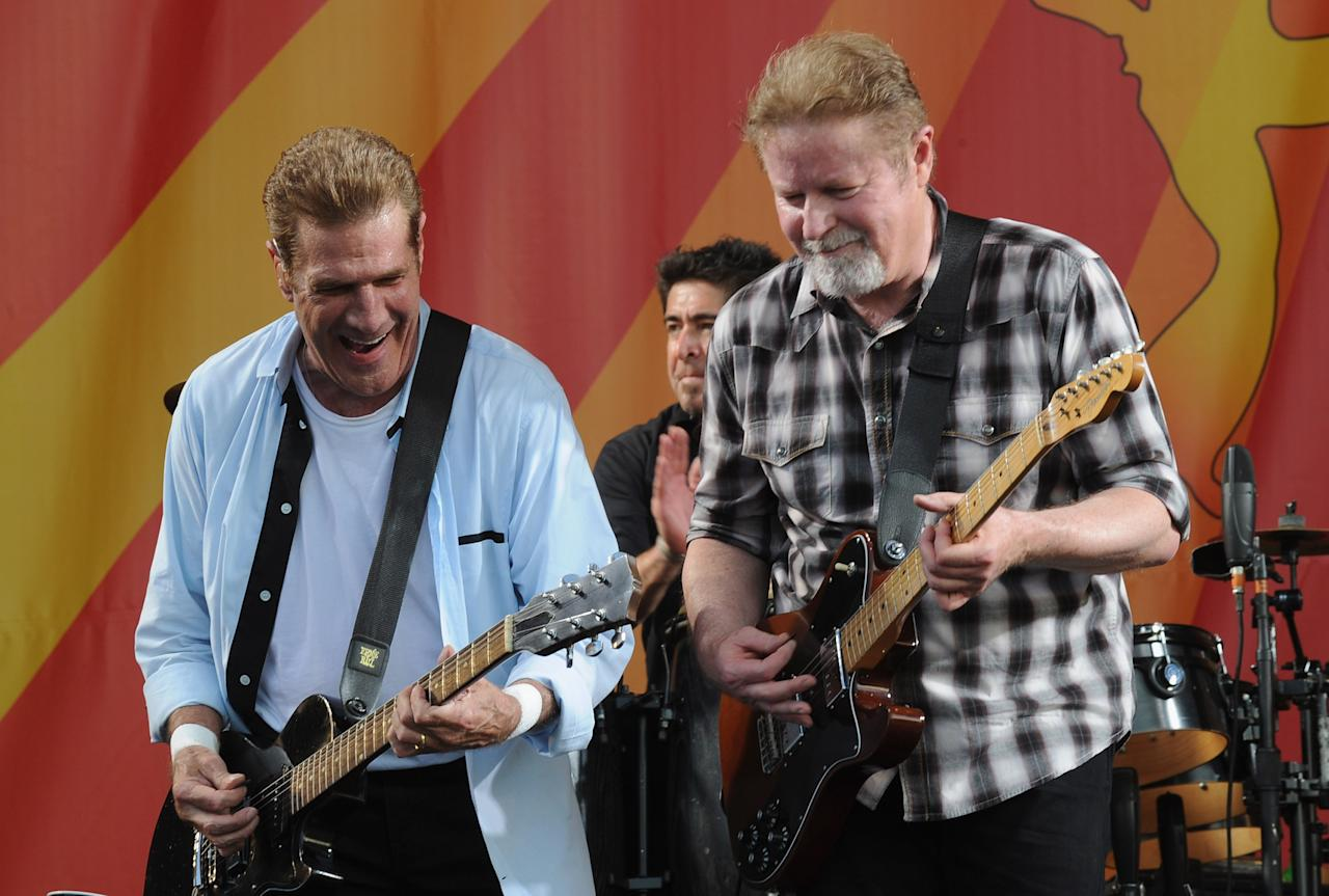NEW ORLEANS, LA - MAY 05:  Glenn Frey and Don Henley of the Eagles performs during the 2012 New Orleans Jazz & Heritage Festival - Day 6 at the Fair Grounds Race Course on May 5, 2012 in New Orleans, Louisiana.  (Photo by Rick Diamond/Getty Images)