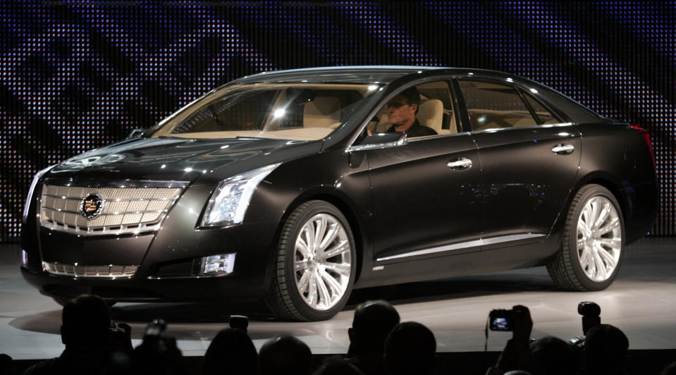 General Motors introduces the automaker's Cadillac XTS Platinum Concept vehicle during press days of the North American International Auto show at Cobo Center in Detroit, Michigan January 12, 2010. REUTERS/Rebecca Cook (UNITED STATES - Tags: TRANSPORT BUSINESS)