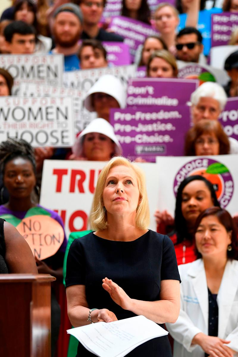 """Democratic presidential candidate Sen. Kirsten Gillibrand (D-NY) attends an event at the Georgia State Capitol to speak out against the recently passed """"heartbeat"""" bill on May 16, 2019 in Atlanta, Georgia. - The bill, which bans abortions after a fetal heartbeat is detected around six weeks, was signed on May 15 by Alabama Governor Kay Ivey. Under the new measure, expected to come into effect in six months, performing an abortion is a crime that could land doctors in prison for up to 99 years."""