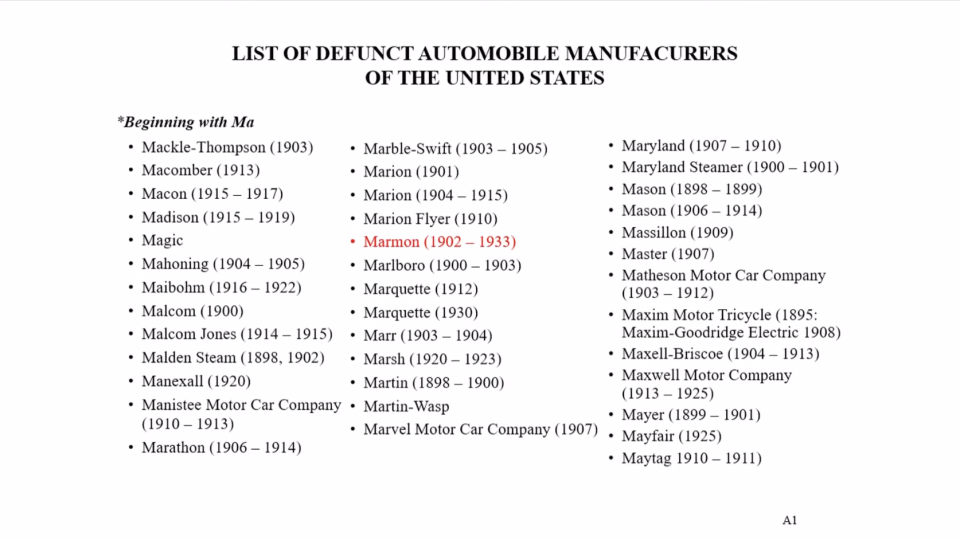 Buffett shows a list of defunct car makers starting with the letter