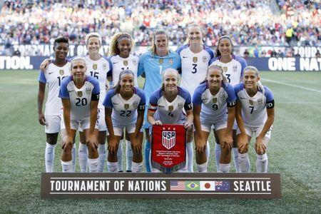 Jul 27, 2017; Seattle, WA, USA; USA starter pose for a team photo before a game against Australia at Century Link Field. Mandatory Credit: Joe Nicholson-USA TODAY Sports