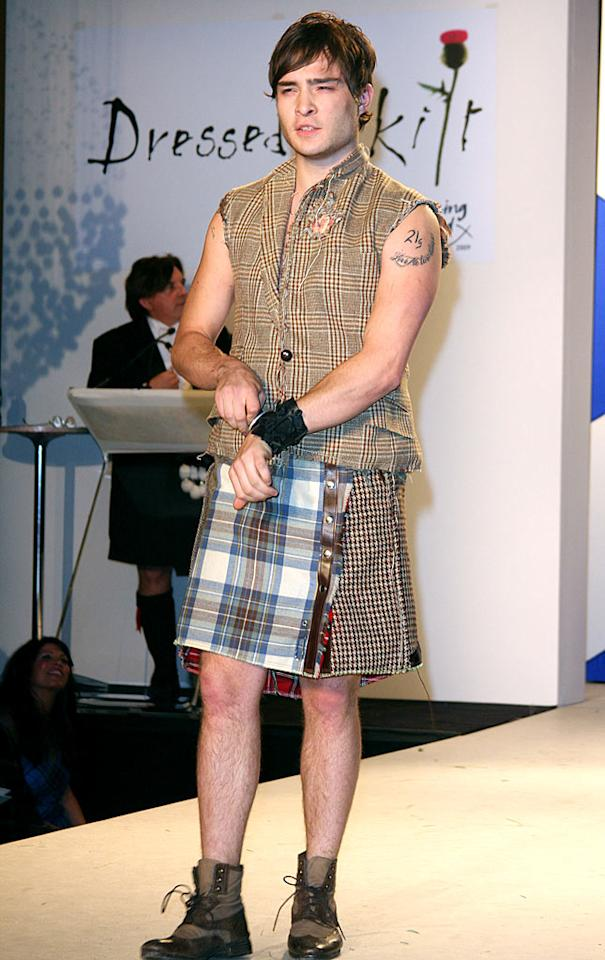 "Blake's ""Gossip Girl"" co-star Ed Westwick dared to strut his stuff in a fashion-forward manskirt, sleeveless shirt, and booties at the 7th annual ""Dressed to Kilt"" charity fashion show in NYC. Totally hot, or totally not? My vote: HOT! <a href=""http://www.splashnewsonline.com"" target=""new"">Splash News</a> - March 30, 2009"