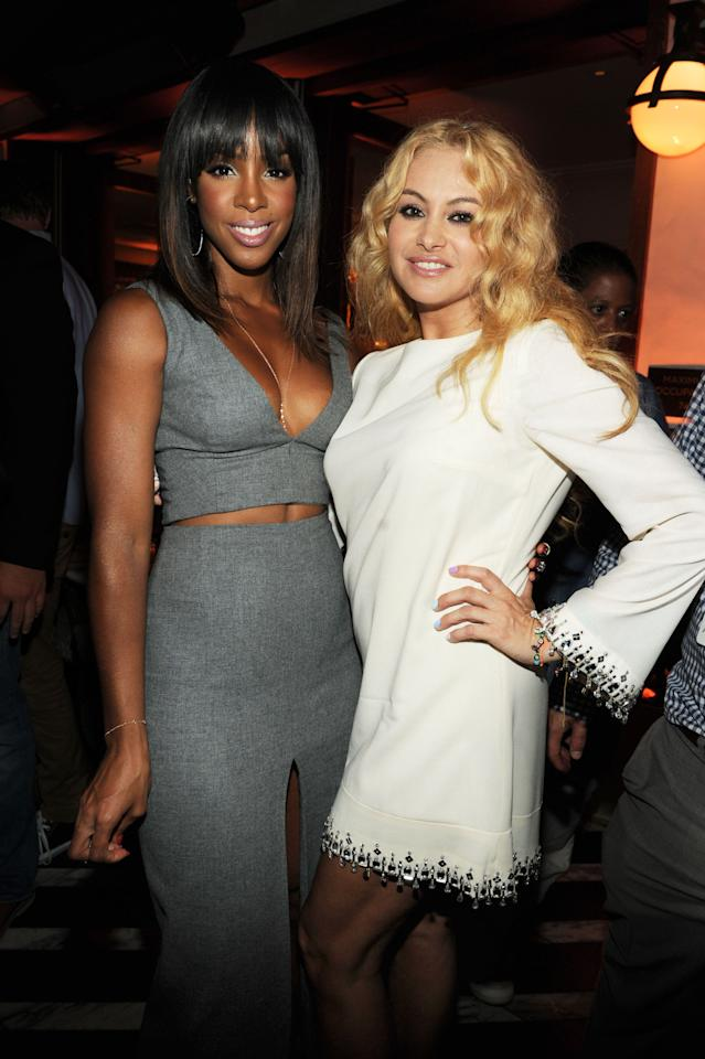 "Kelly Rowland and Paulina Rubio attend Fox's ""The X Factor"" Season 3 premiere party at Ciccone Restaurant on September 5, 2013 in West Hollywood, California."
