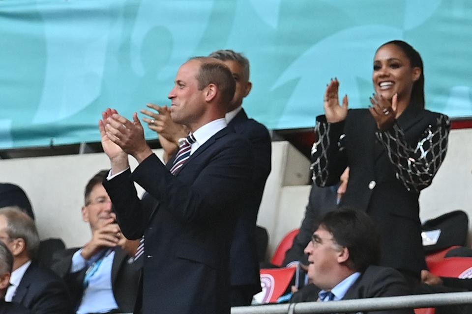 Prince William, Duke of Cambridge, celebrates the equaliser during the UEFA EURO 2020 semi-final football match between England and Denmark at Wembley Stadium in London on July 7, 2021. (Photo by Paul ELLIS / POOL / AFP) (Photo by PAUL ELLIS/POOL/AFP via Getty Images)