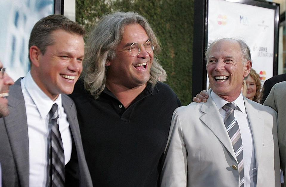 L-R: Matt Damon, Paul Greengrass, and frank Marshall at the 'Bourne Ultimatum' premiere in 2007 - Credit: Frazer Harrison, Getty Images