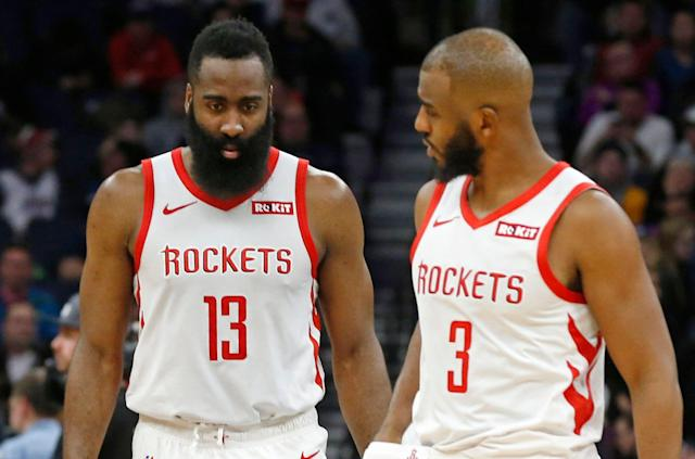 "James Harden and <a class=""link rapid-noclick-resp"" href=""/nba/players/3930/"" data-ylk=""slk:Chris Paul"">Chris Paul</a> reportedly ended the season in a verbal confrontation that drew in the locker room and hasn't been resolved. (AP Photo/Jim Mone)"